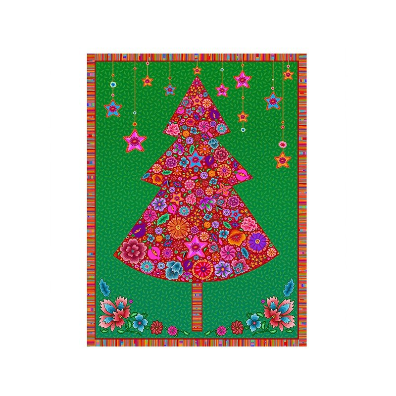 Odile Bailloeul Holiday Tree Panel in green