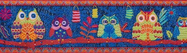 Wide Forest Owls on Midnight Blue - Renaissance Ribbons