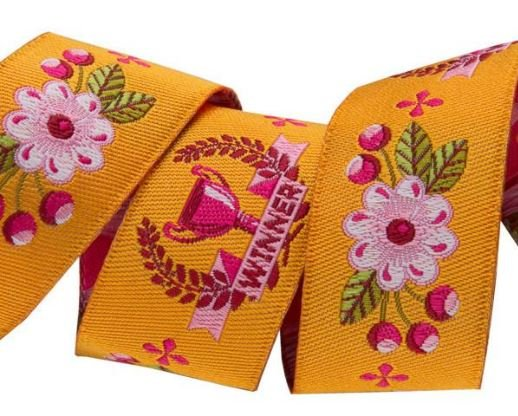 Winner on Orange 7/8 inch (22 mm); Tula Pink Jacquard Renaissance Ribbons