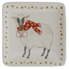 Square Sheep Ceramic Dish