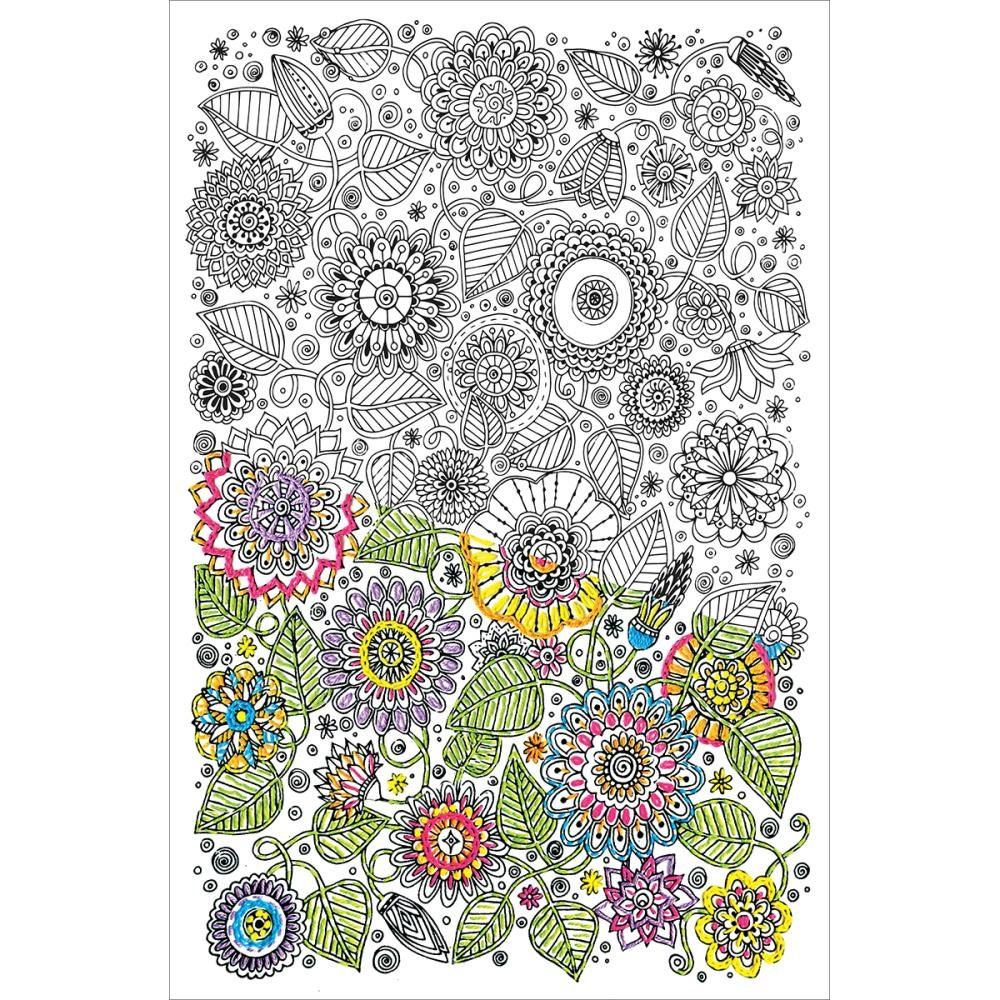 Floral Fabric Panel 10 x 16 (design size)  - Zenbroidery