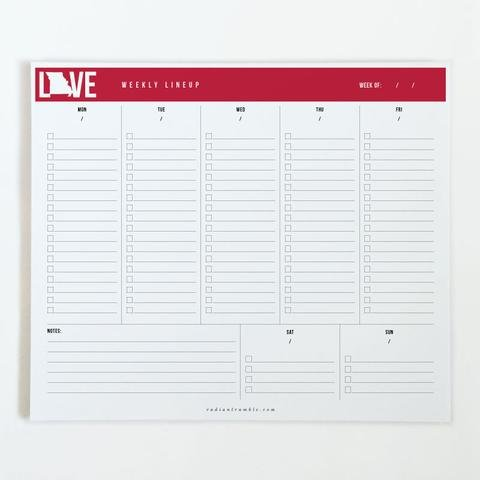 Missouri Cardinal Love Desk Pad - Checkboxes