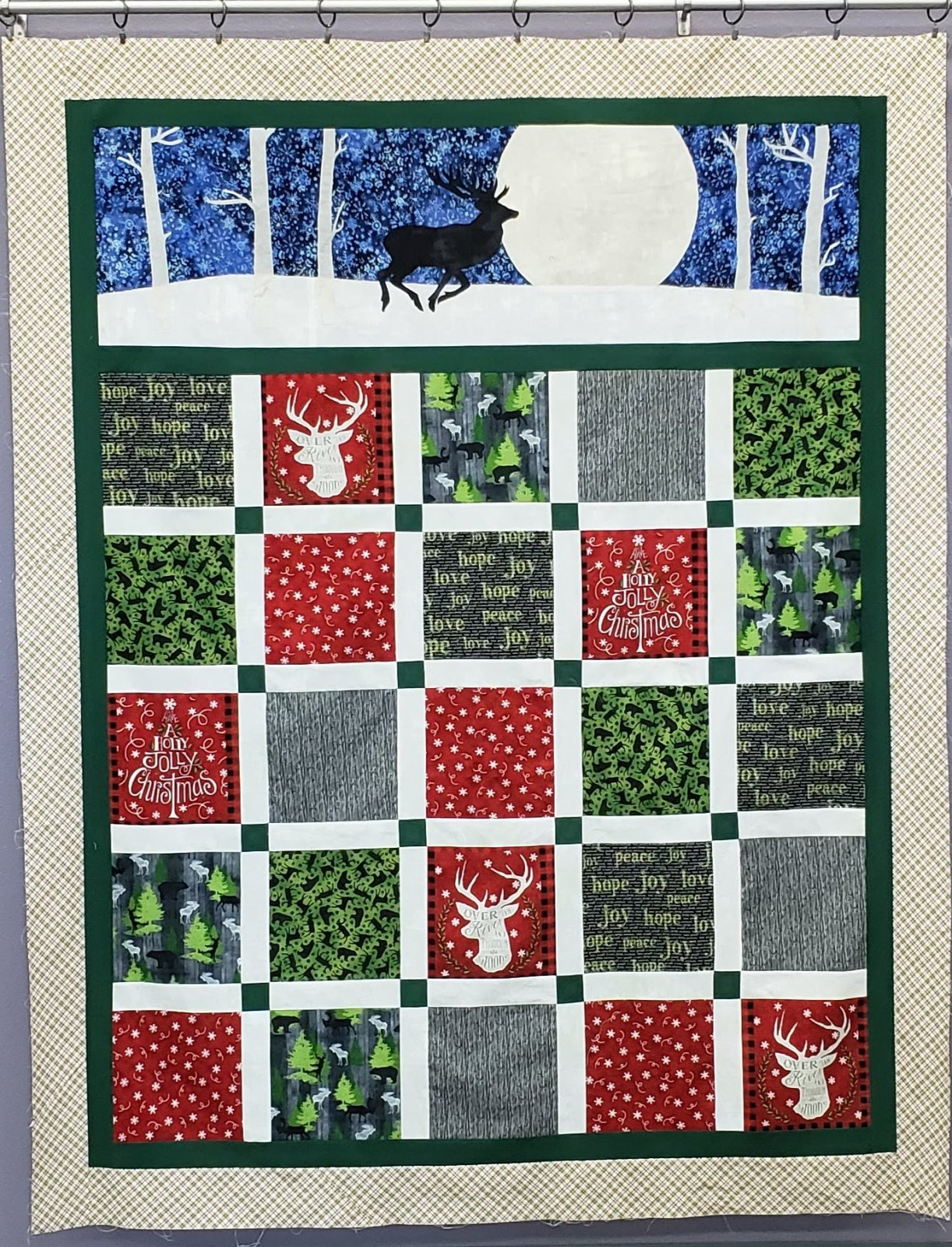 Stag on Christmas Eve Quilt Kit