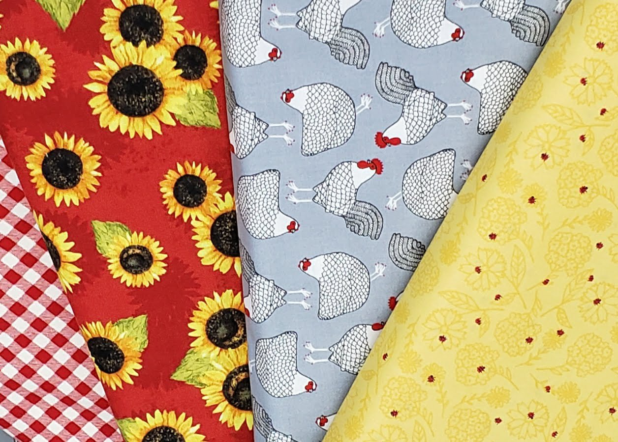 Chickens and  Sunflowers in Reds Fat Quarter Bundle