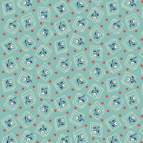 Harlow Floral Squares Aqua