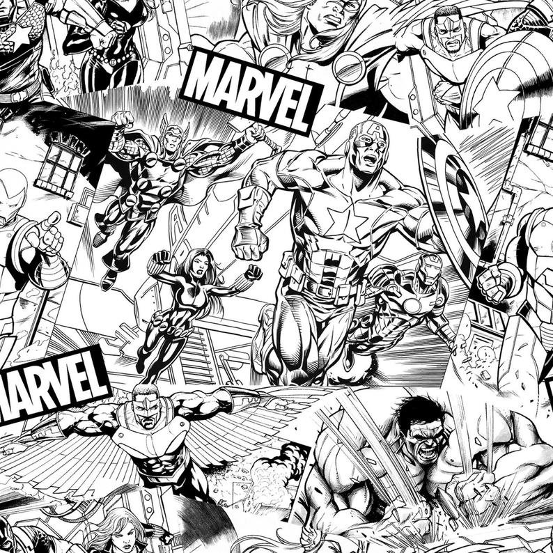 Avengers Black and White Sketch