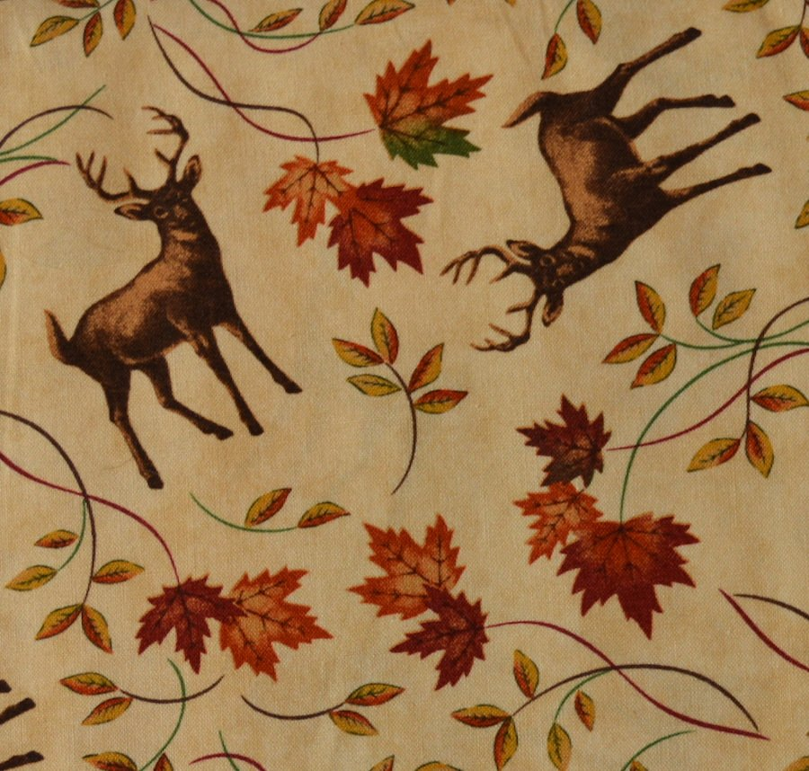 Deer and Maple on Tan Background