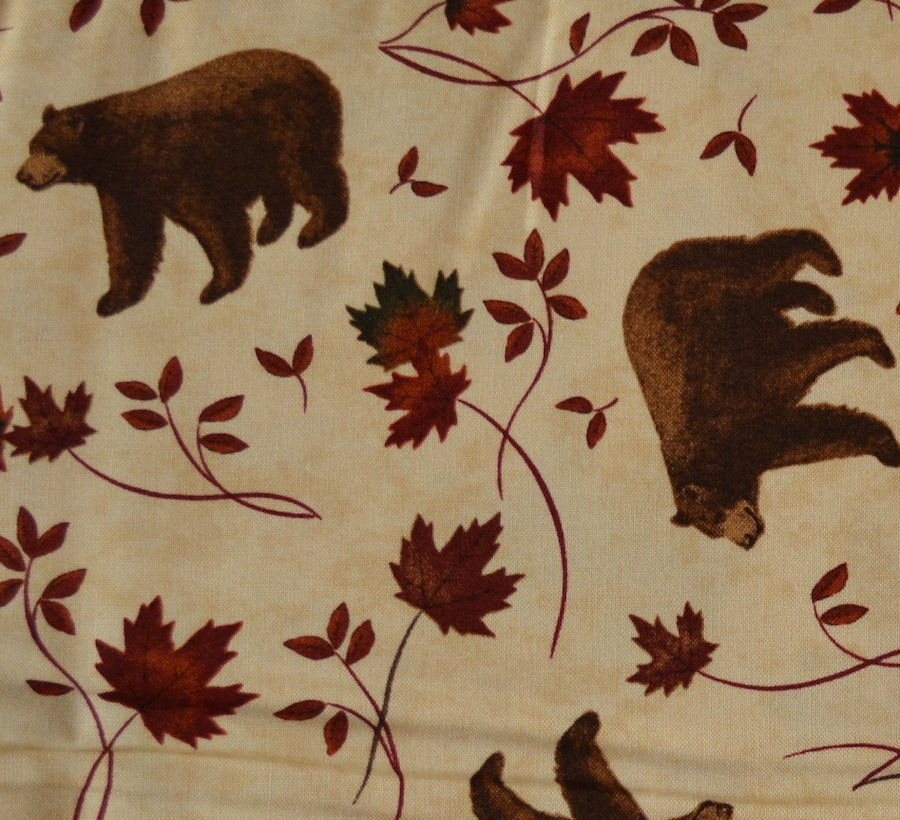 Bear and Maple on Tan Background