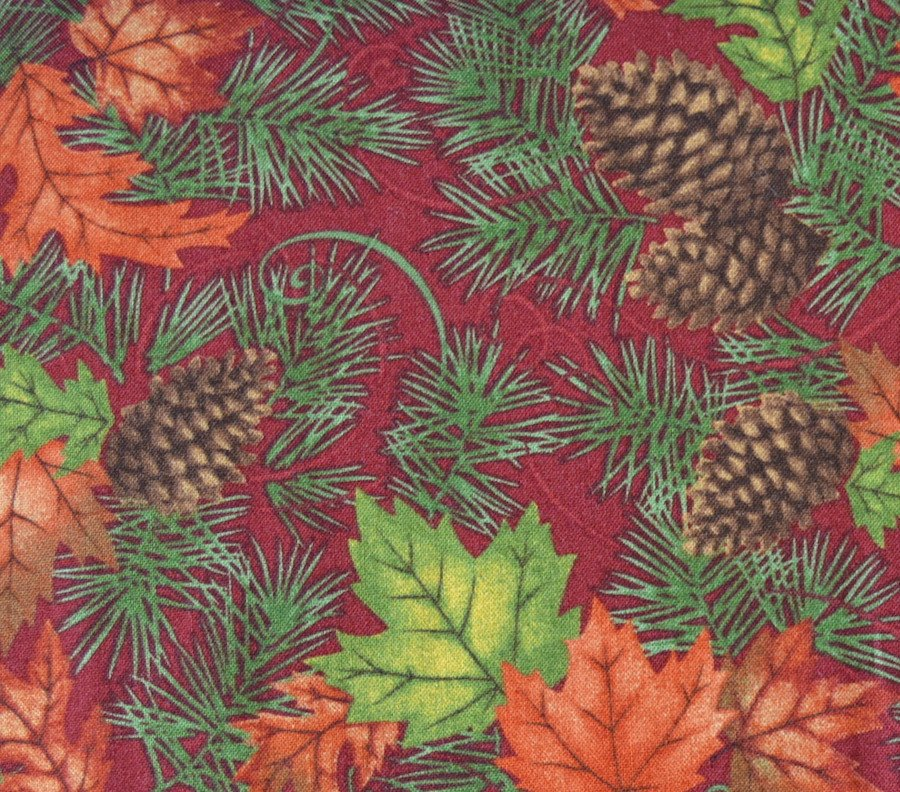 Maple, Oak and Pine on Burgundy Background