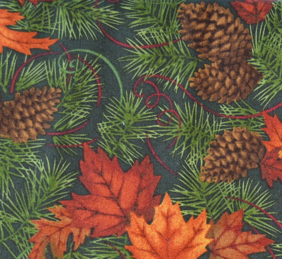 Maple, Oak and Pine on Green Background