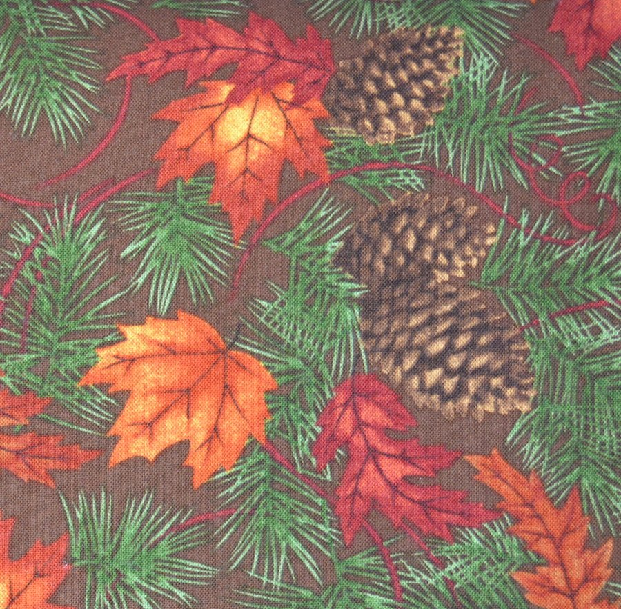 Maple, Oak and Pine on Brown Background