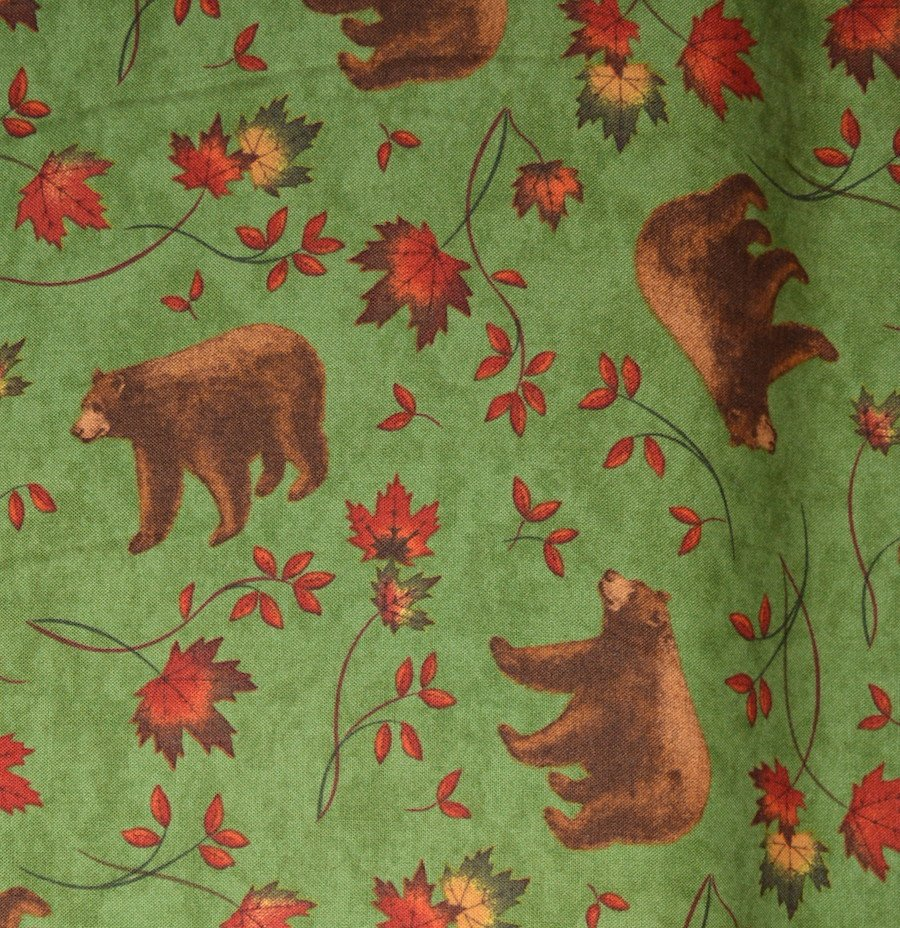 Bear and Maple on Green Background