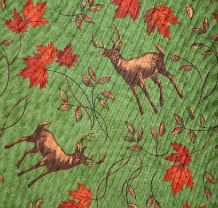 Deer and Maple on Green Background