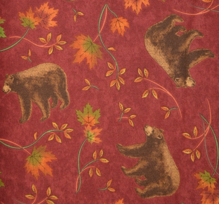 Bear and Maple on Burgundy Background