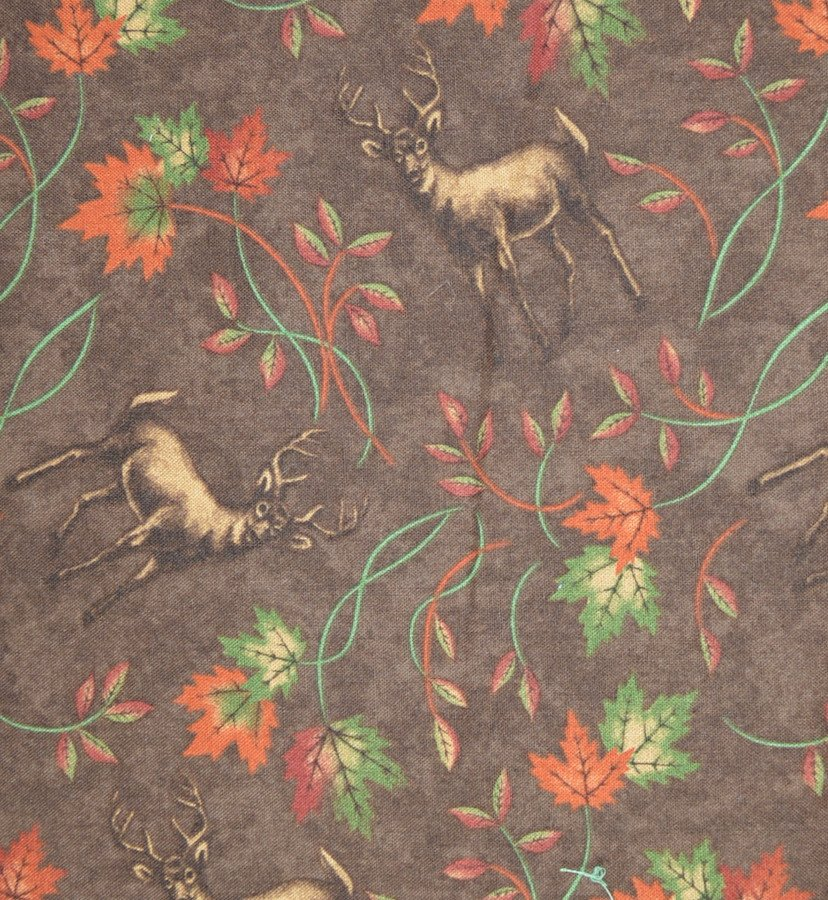 Deer and Maple on Brown Background