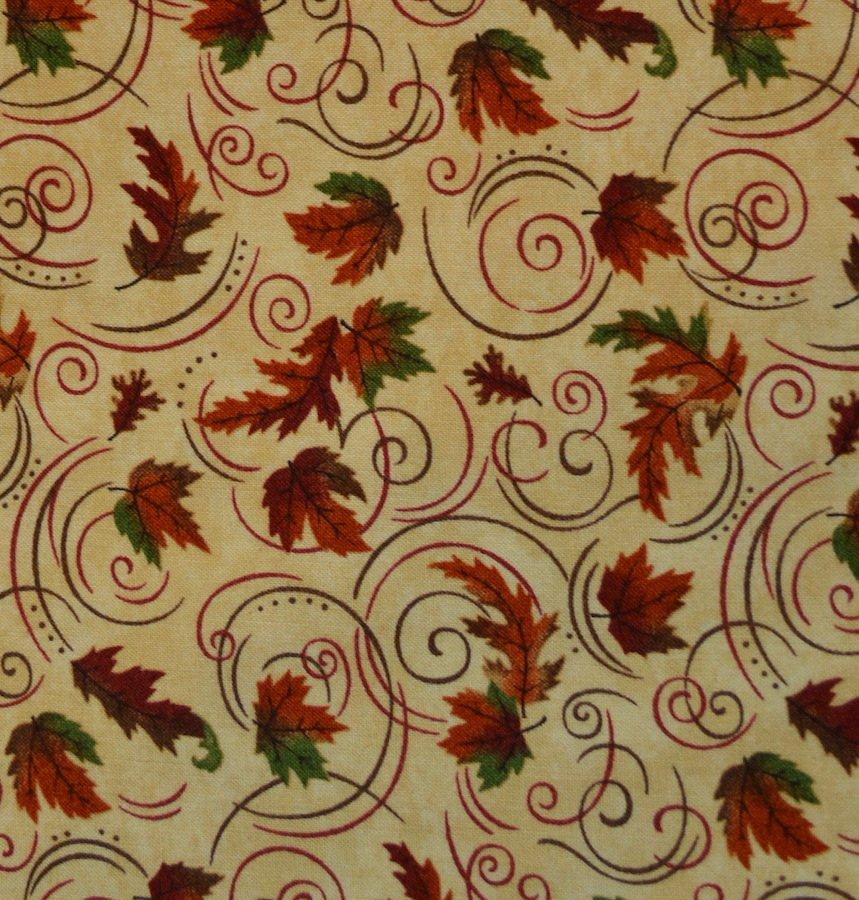 Maple, Oak and Swirls on Tan Background