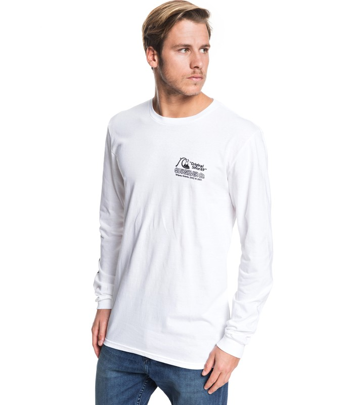 QUIKSILVER DAILY WAX LONG SLEEVE TEE WHT