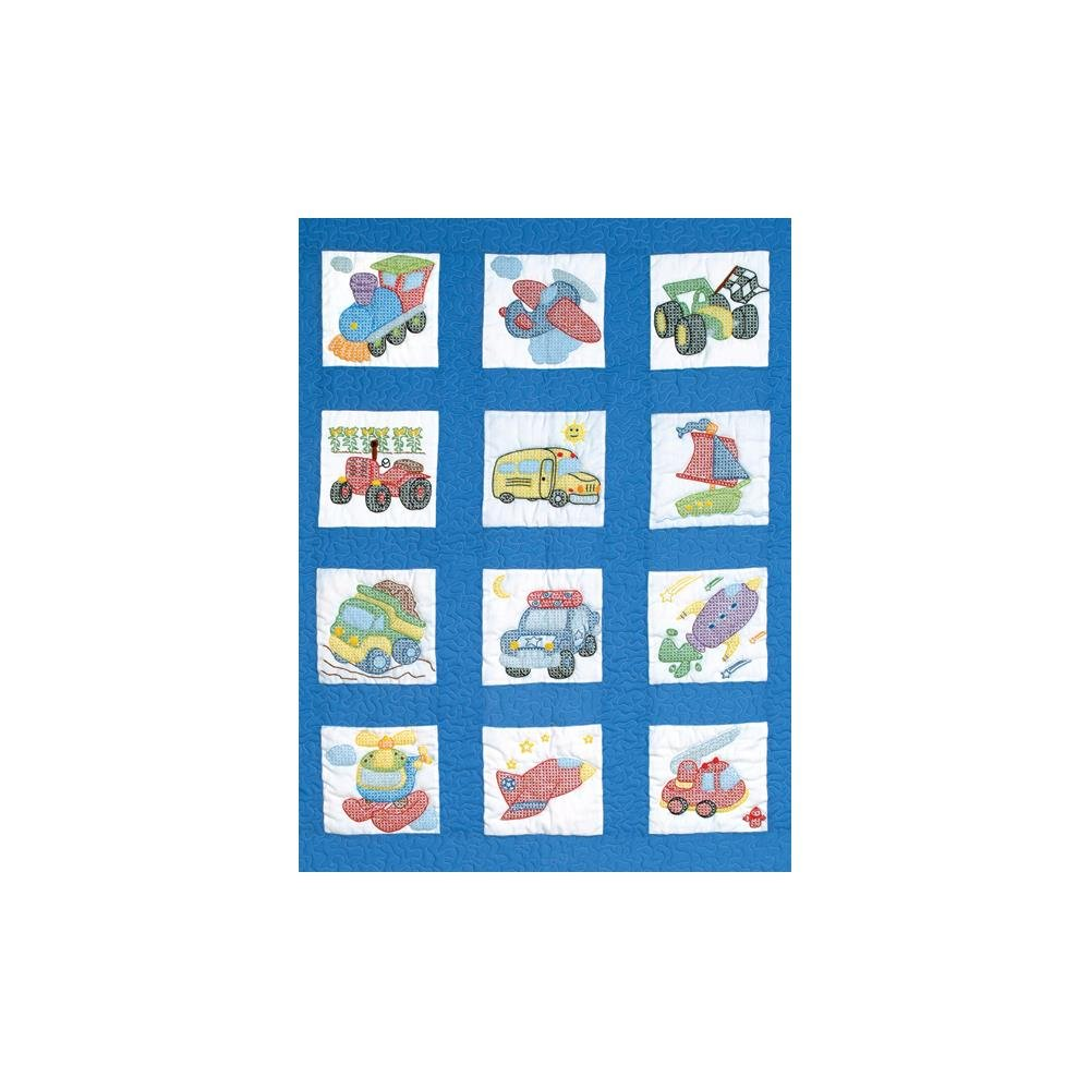 Stamped Embroidery Blocks - 9in - Transportation
