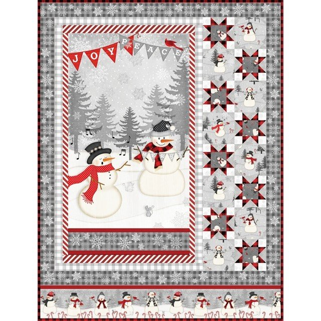 Snowy Wishes Wall Hanging Quilt Kit 45 x 59