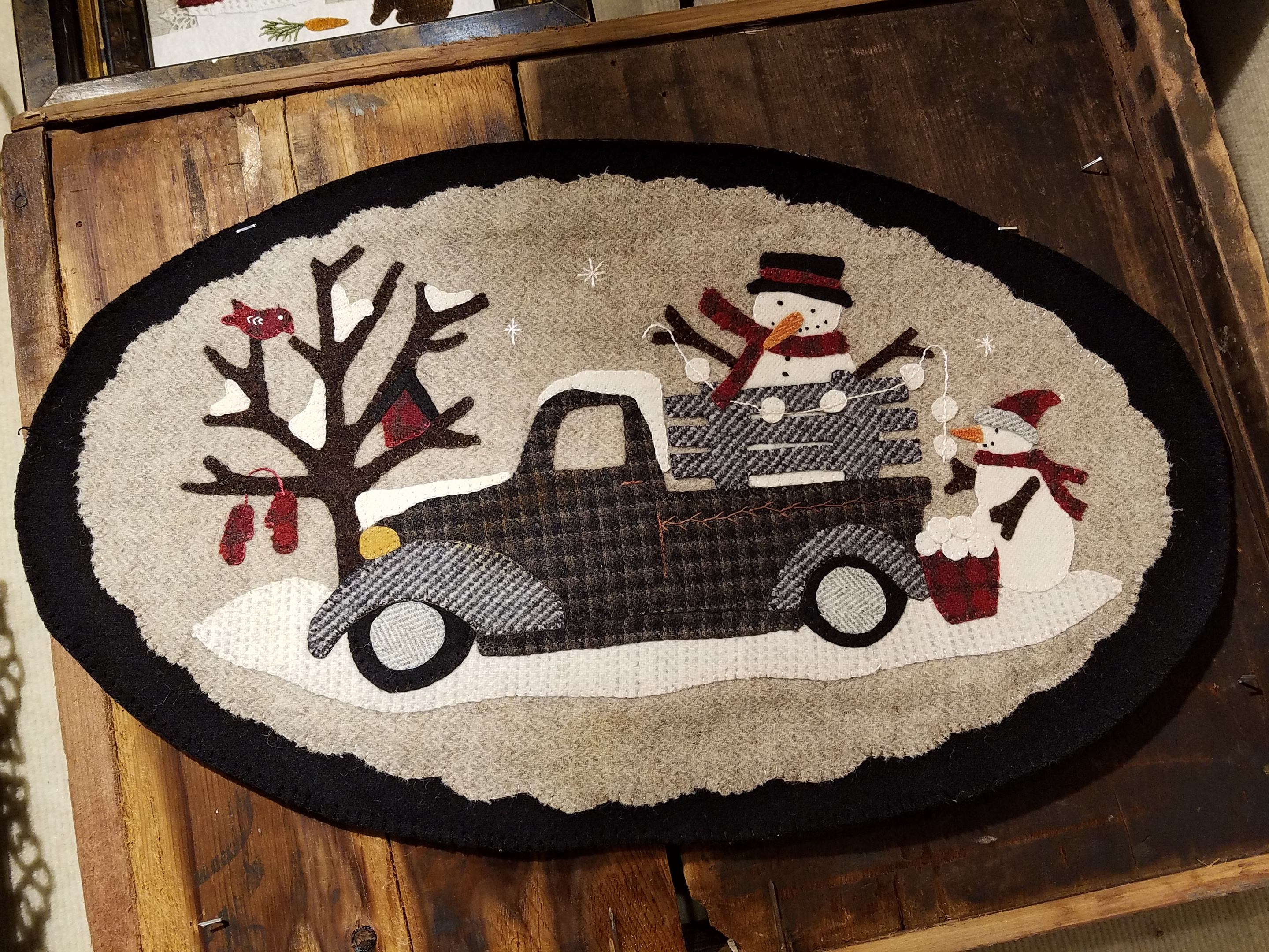 Vintage Truck thru the Year - January Wool Kit with Pattern: 12.5 x 22