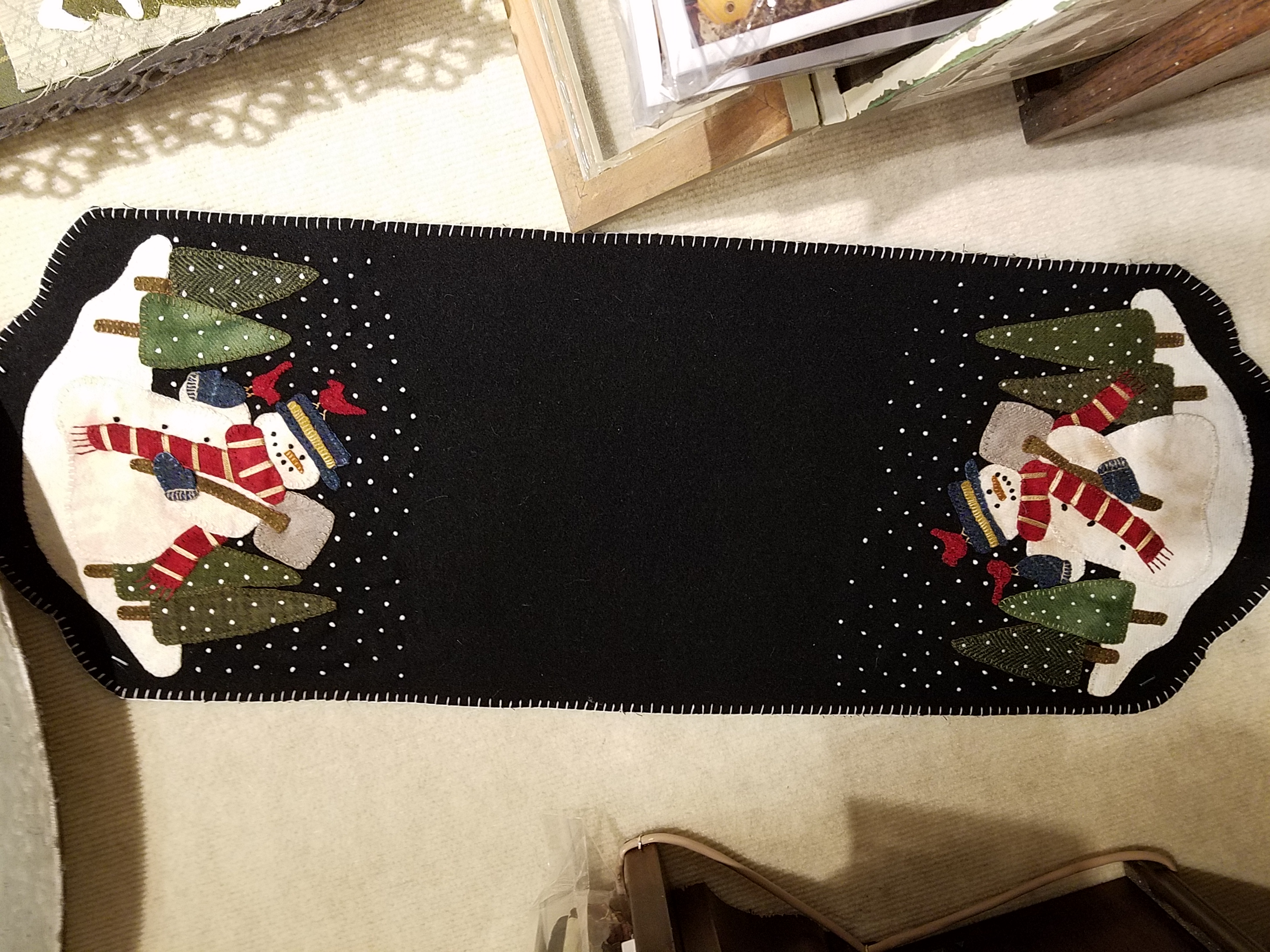 Snowman For Hire Wool Table Runner Kit with Pattern: 10.5 x 30