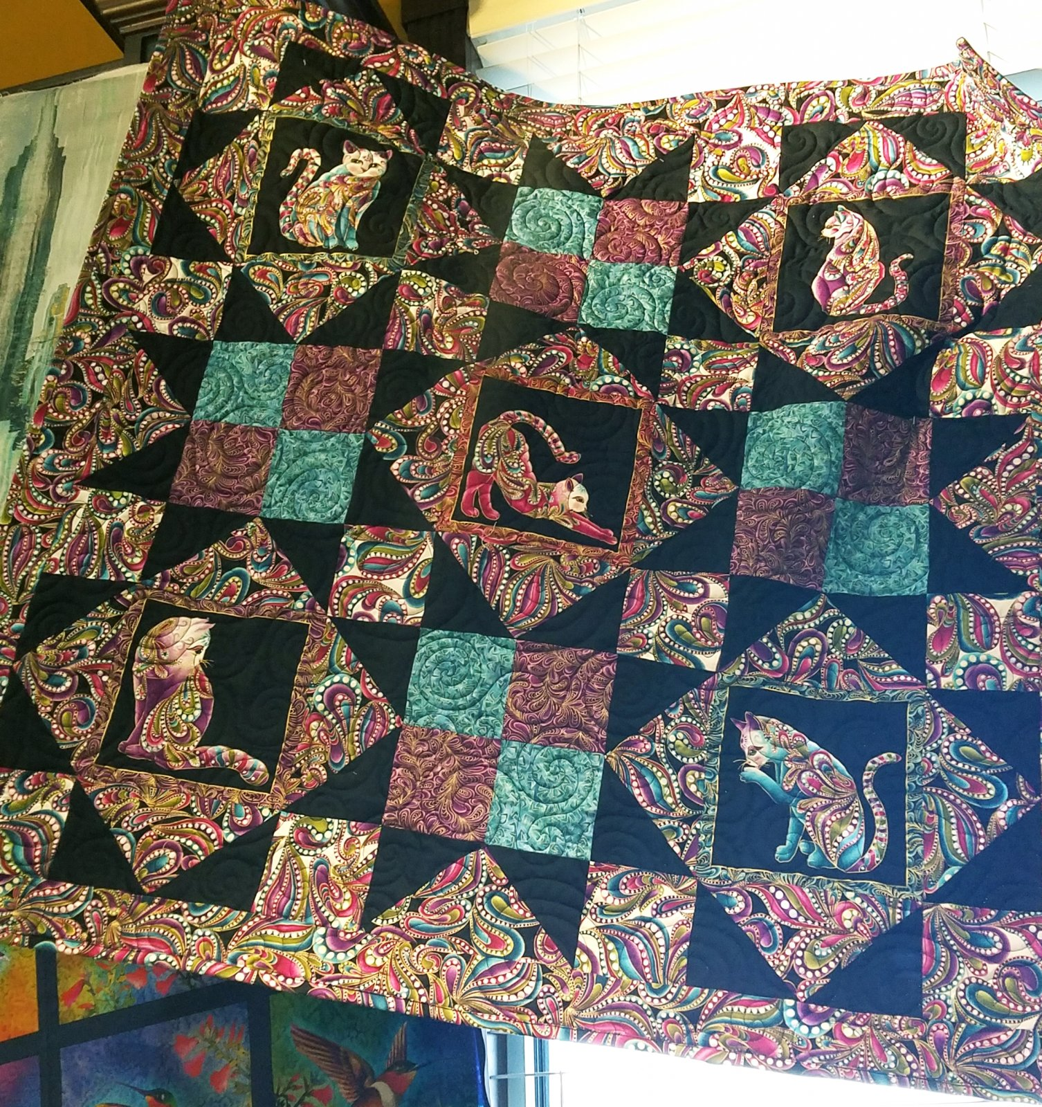 Cat-I-Tude Afternoon Delight Quilt Kit - Black