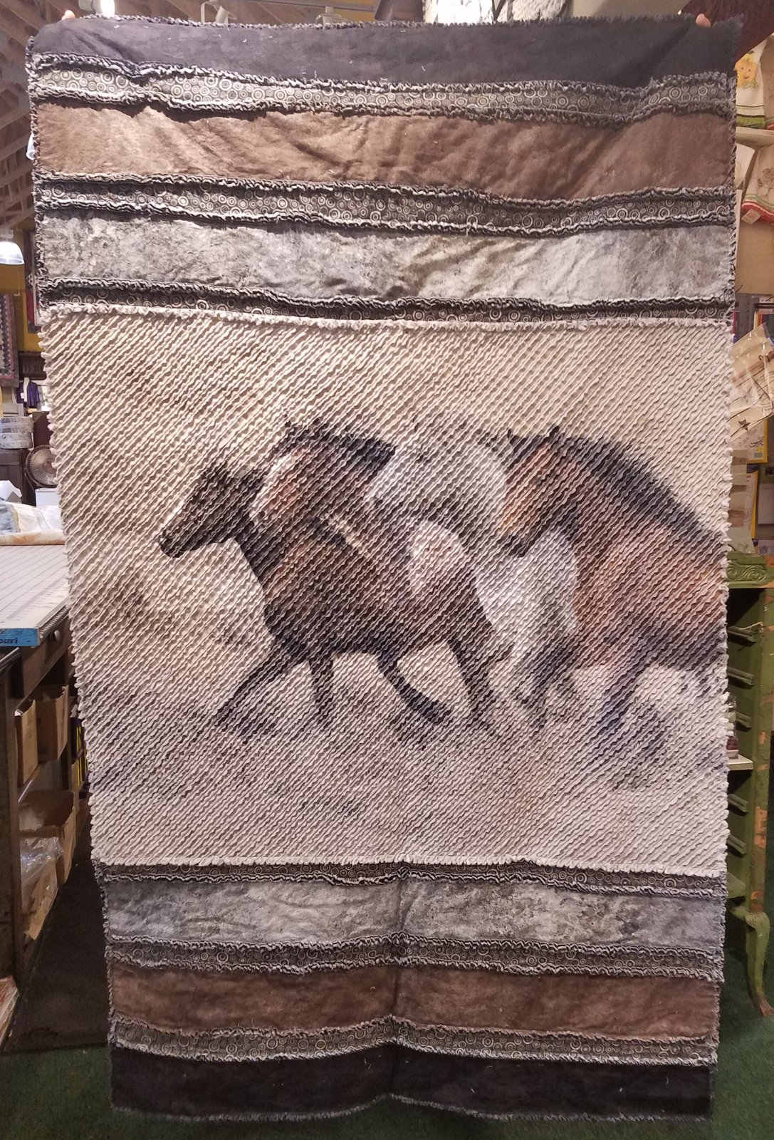 Just Seams Chenilled - Horses Throw Quilt Kit with Pattern