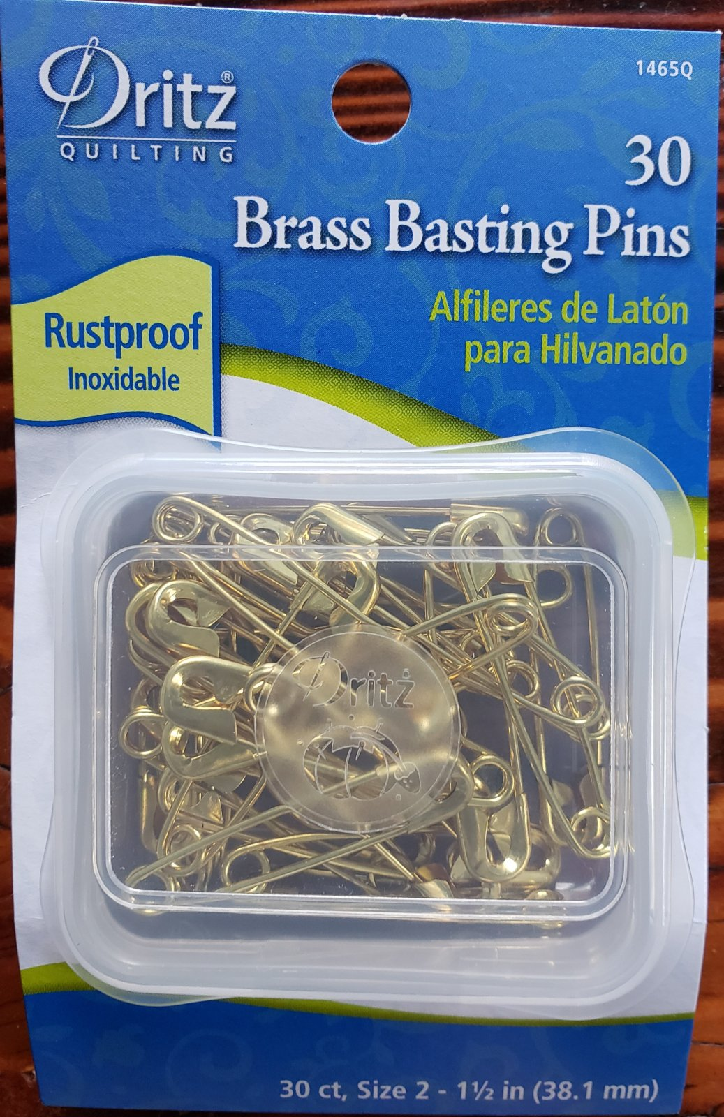 Dritz Quilting Brass Basting Safety Pins 30Ct