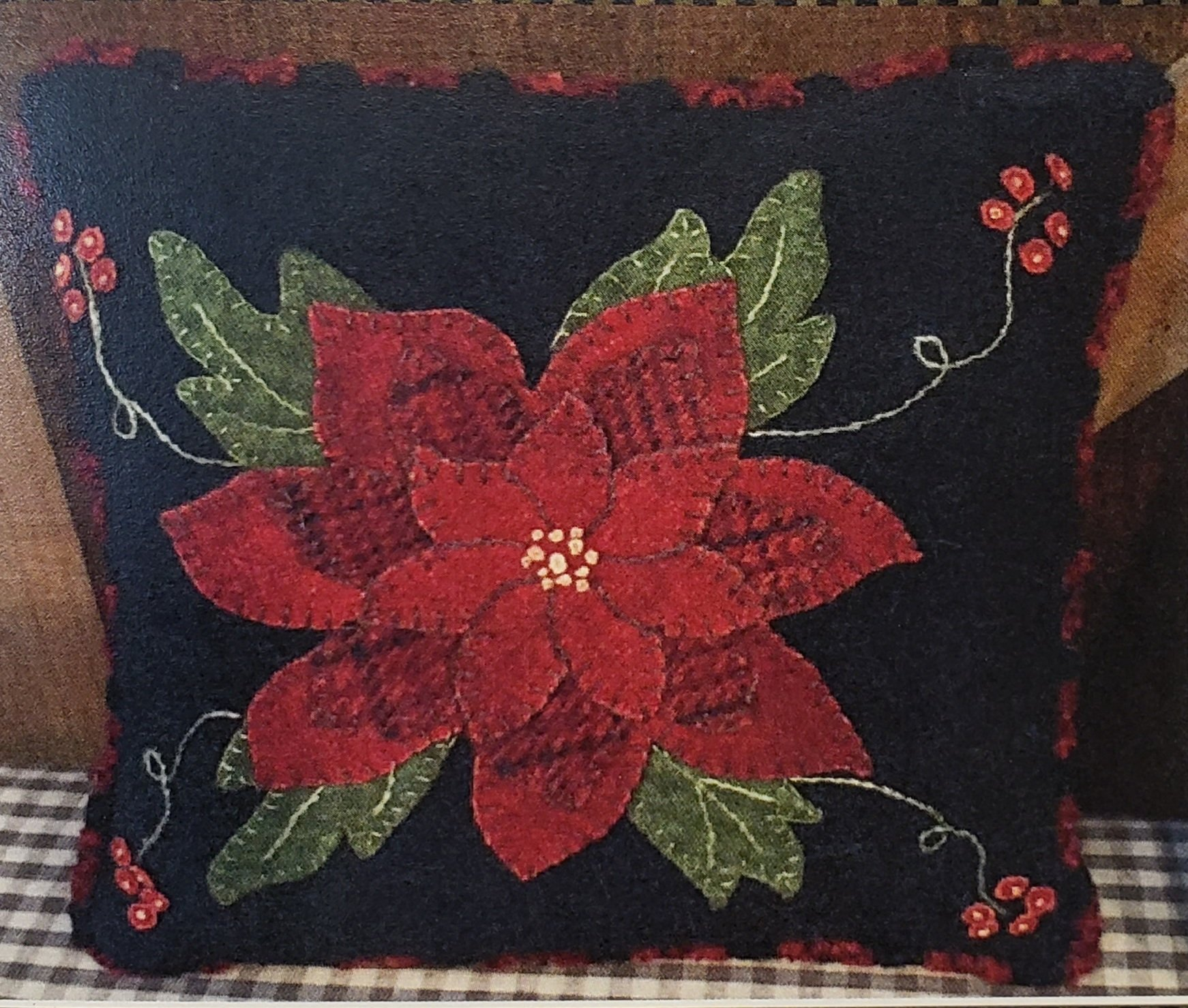 Little Poinsettia Wool Pillow Kit with Pattern 9in x 9in