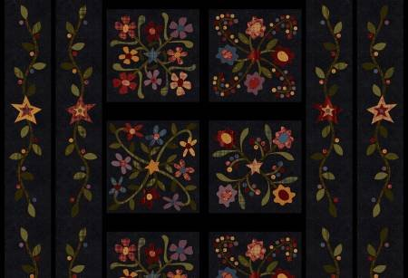 Folk Art Flannel Panel - Black