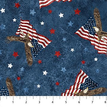 Stonehenge Stars & Stripes 8 - Tossed Flags and Eagles - Navy