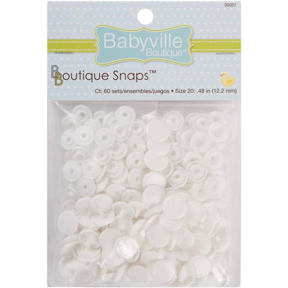 Babyville Snaps-Size 20 - 60ct White