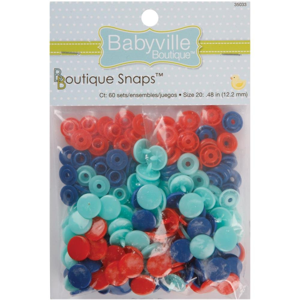 Babyville Snaps-Size 20- 60Ct -Red, Blue, & Light Blue