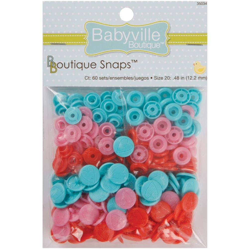 Babyville Snaps- Size 20-60ct- Red, Teal, & Pink with Hearts