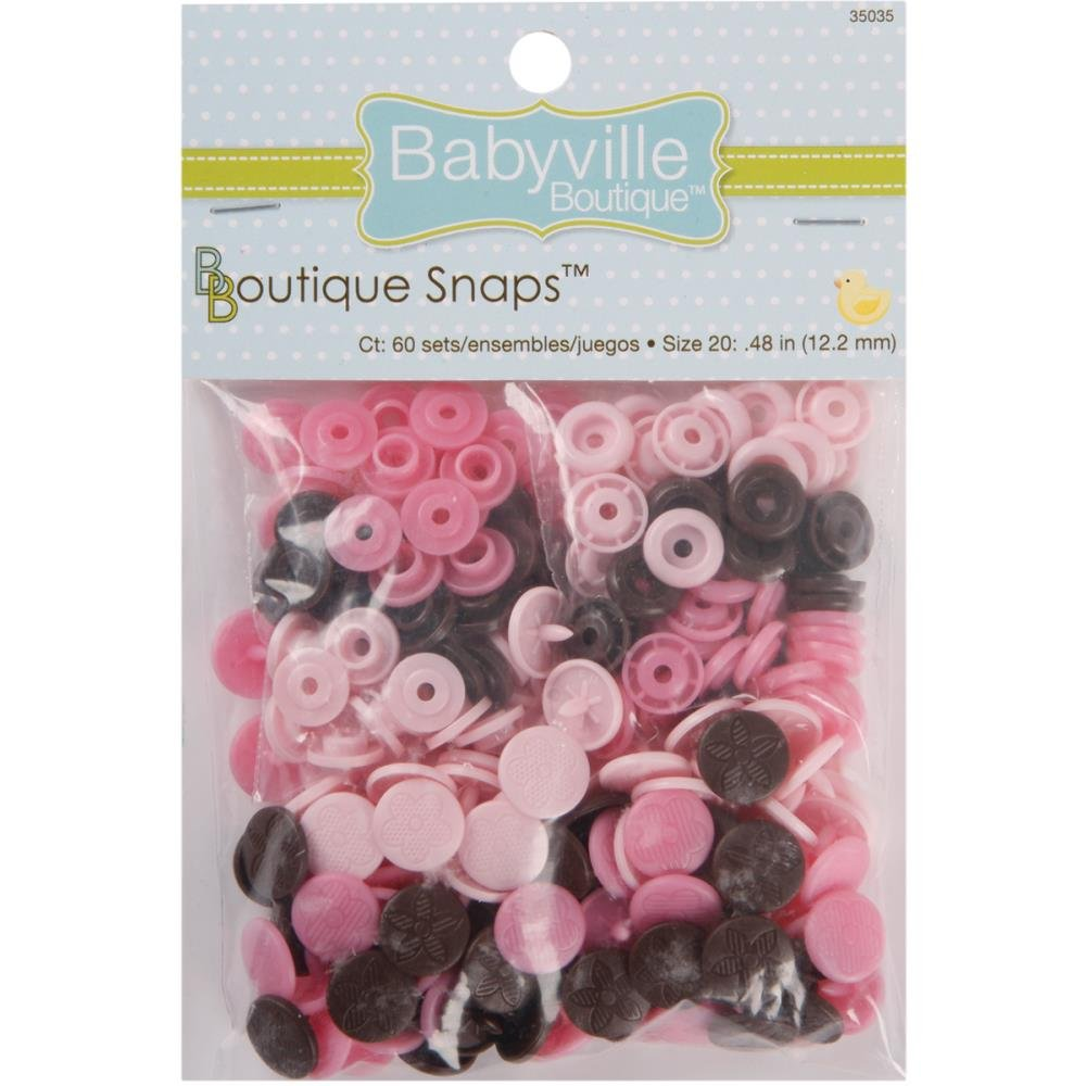 Babyville Snaps -Size 20-60ct - Mod Girl Flowers Pink & Brown