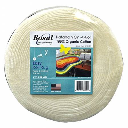 2-1/4in X 50yds White 100% cotton Jelly Roll Rug Batting