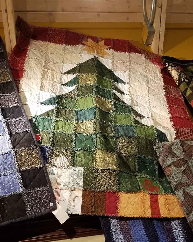 Dressed for the Holidays Christmas Tree Rag Throw Fabric Kit 55 x 71