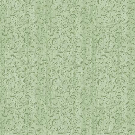 Festive Chickadee Green Washed Scroll