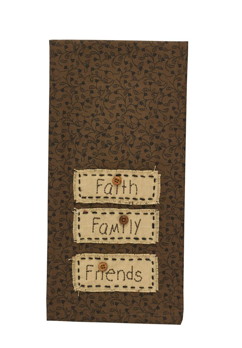 Faith Family Friends Applique Tea Towel