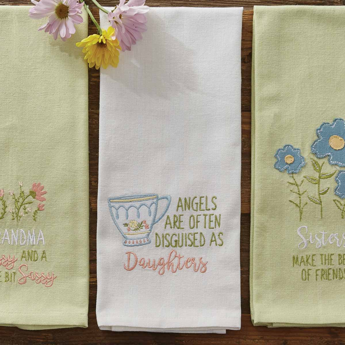 Angels Often Disguised as Daughters Tea Towel