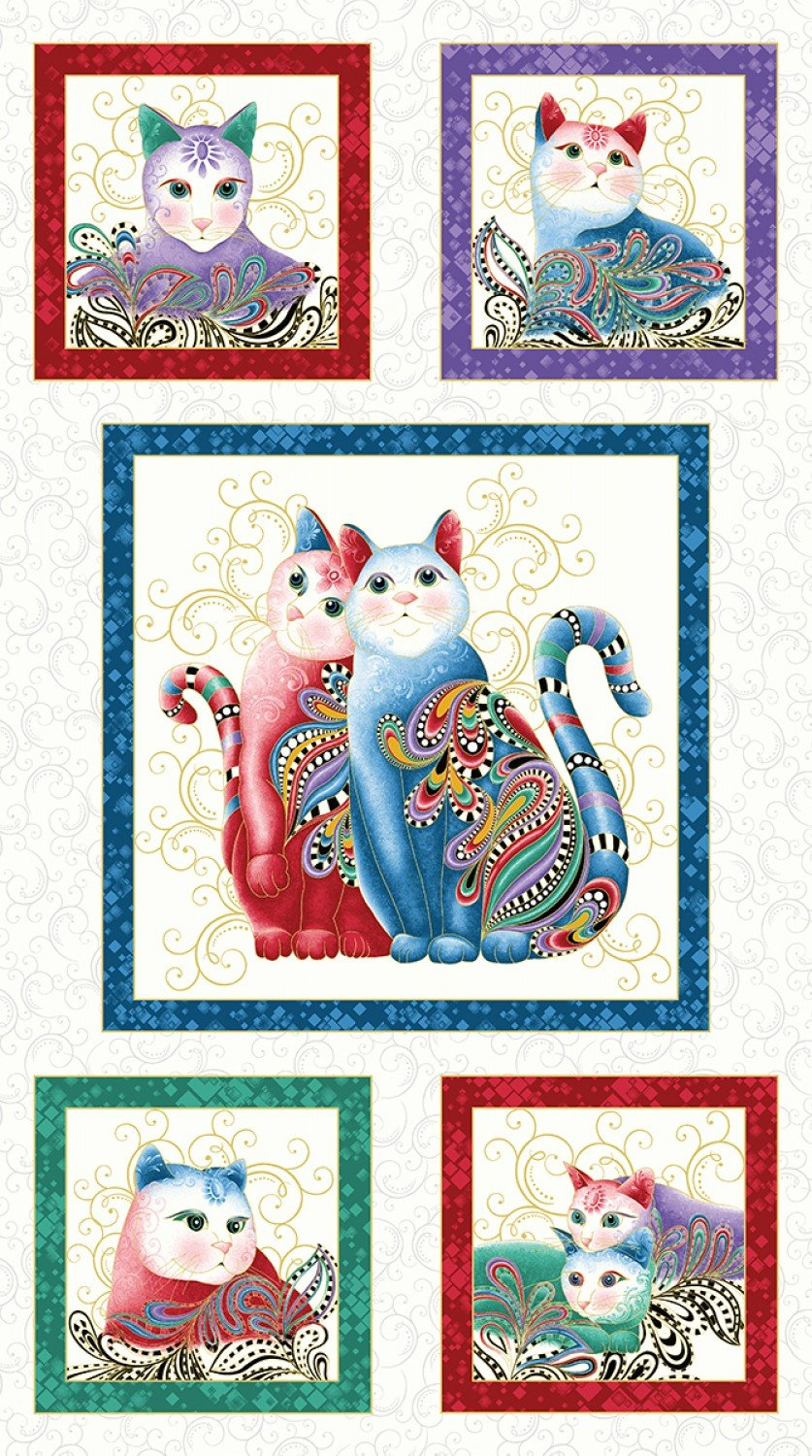 Purr Fect Together Blocks on White - Cat-I-Tude 2 Panel