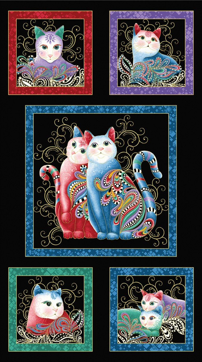Purr Fect Together Blocks on Black - Cat-I-Tude 2 Panel