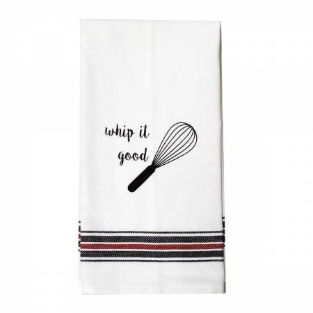 Appliqued Tea Towel Whip it Taged & Hooked