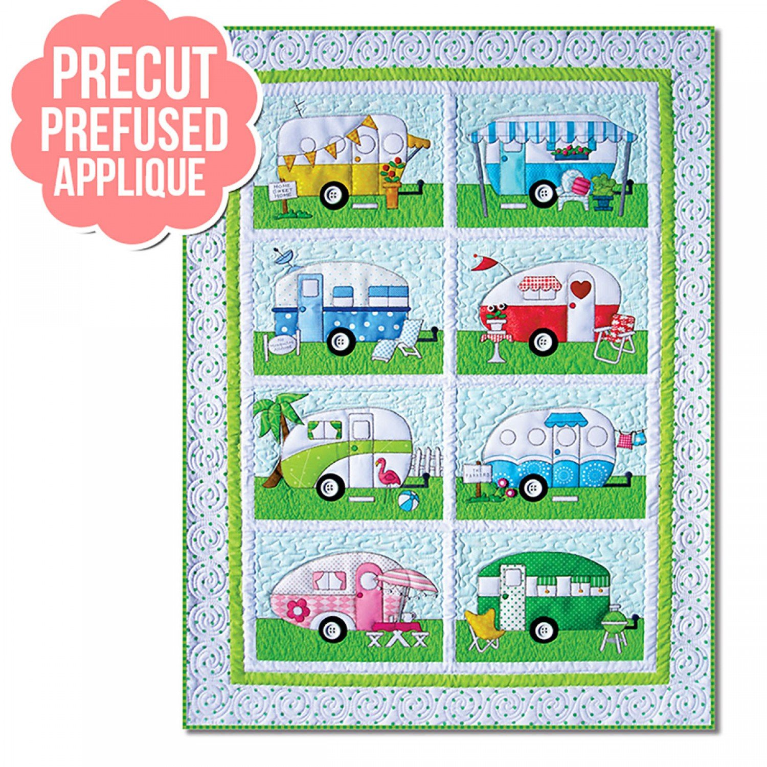 Campers Pre-cut and Pre-Fused Applique Kit