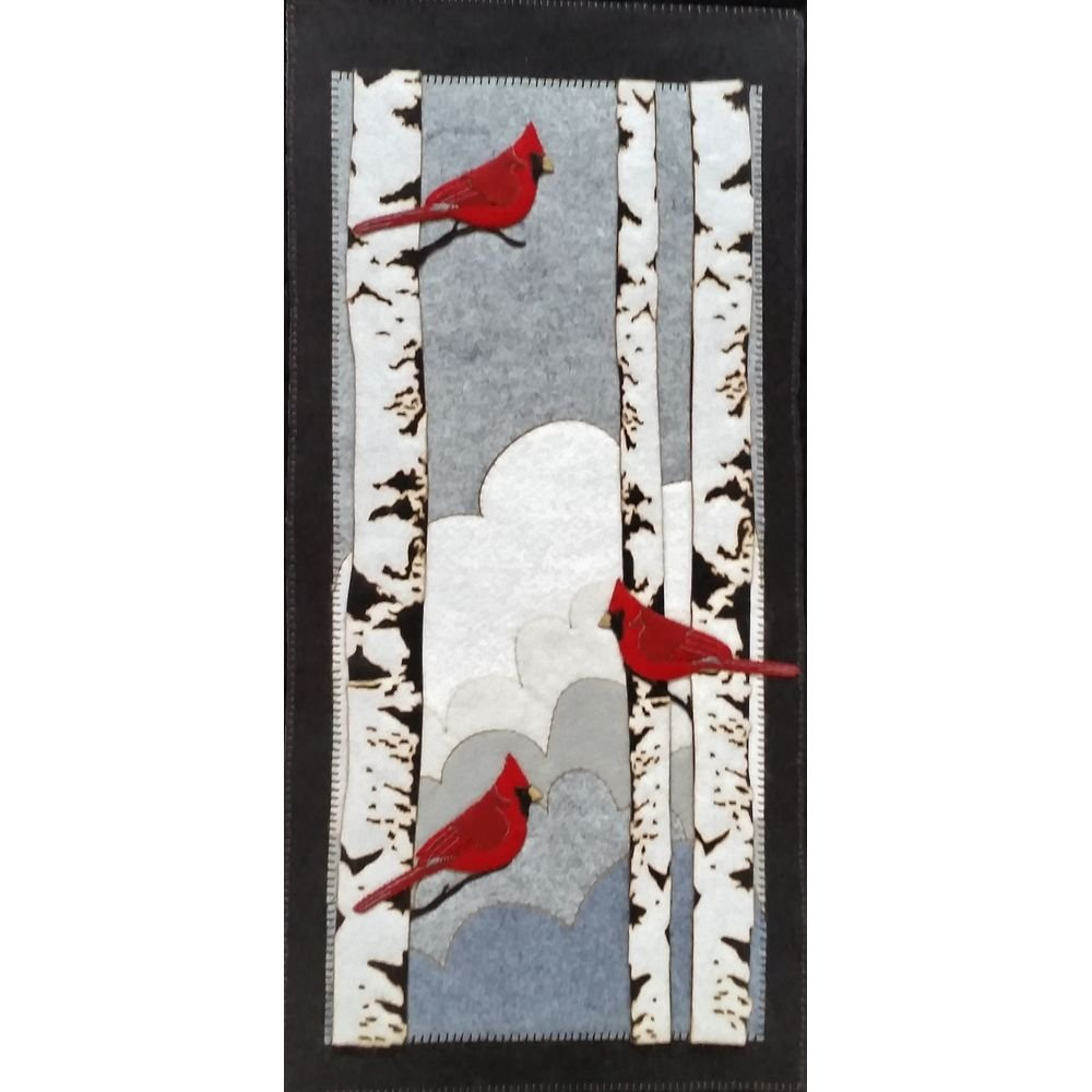 Cardinals in the Birch - Precision Cut Wool Felt Wall Hanging Kit