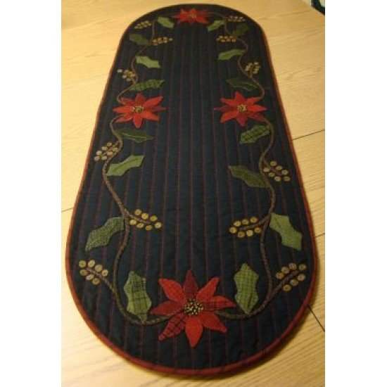 Holly & Poinsettia Table Runner Wool Kit with Pattern