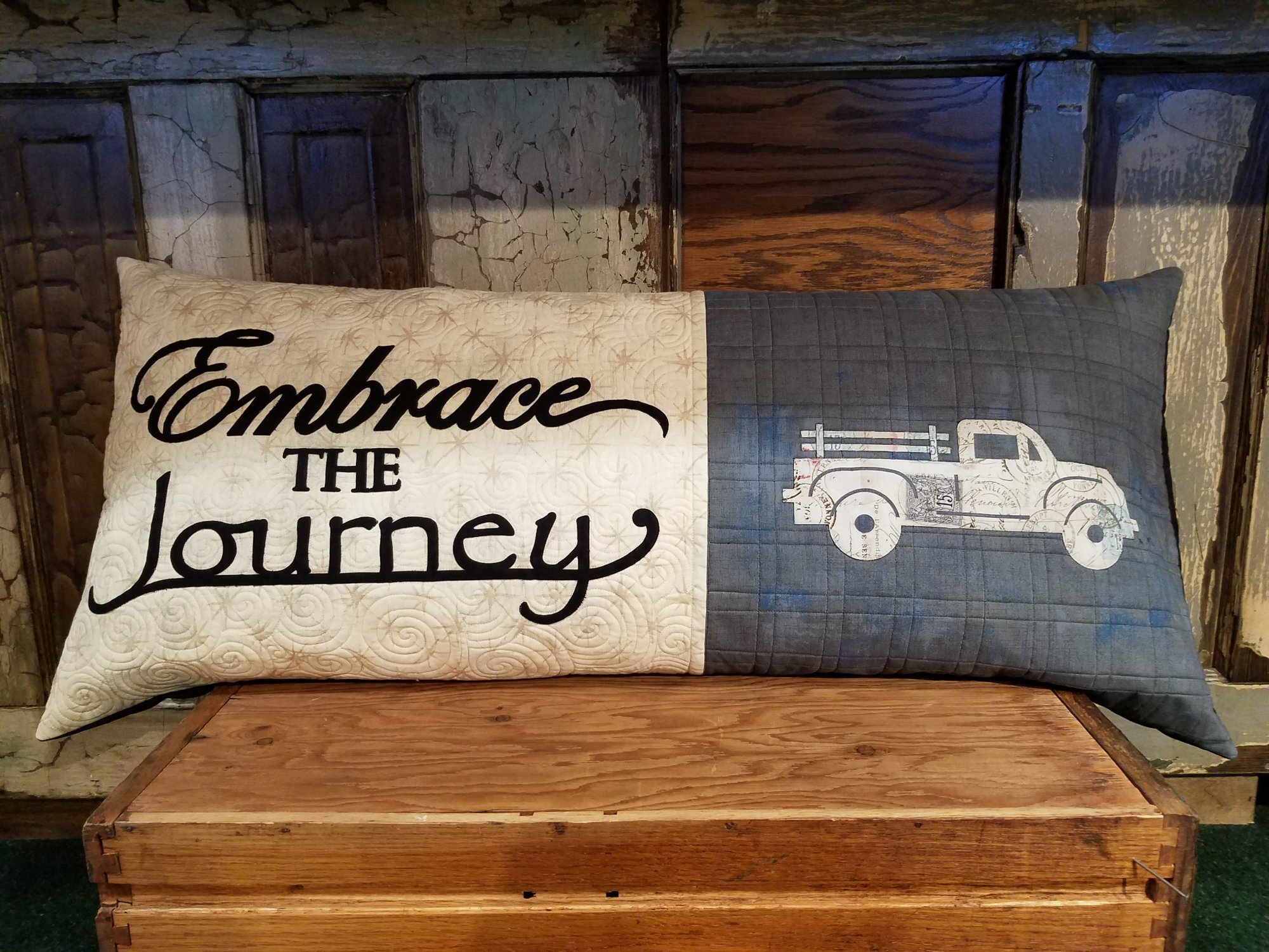Embrace The Journey Quilted Bench Pillow Kit