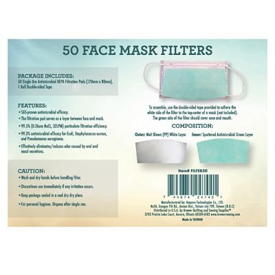 Face Mask Filters - Package of 50
