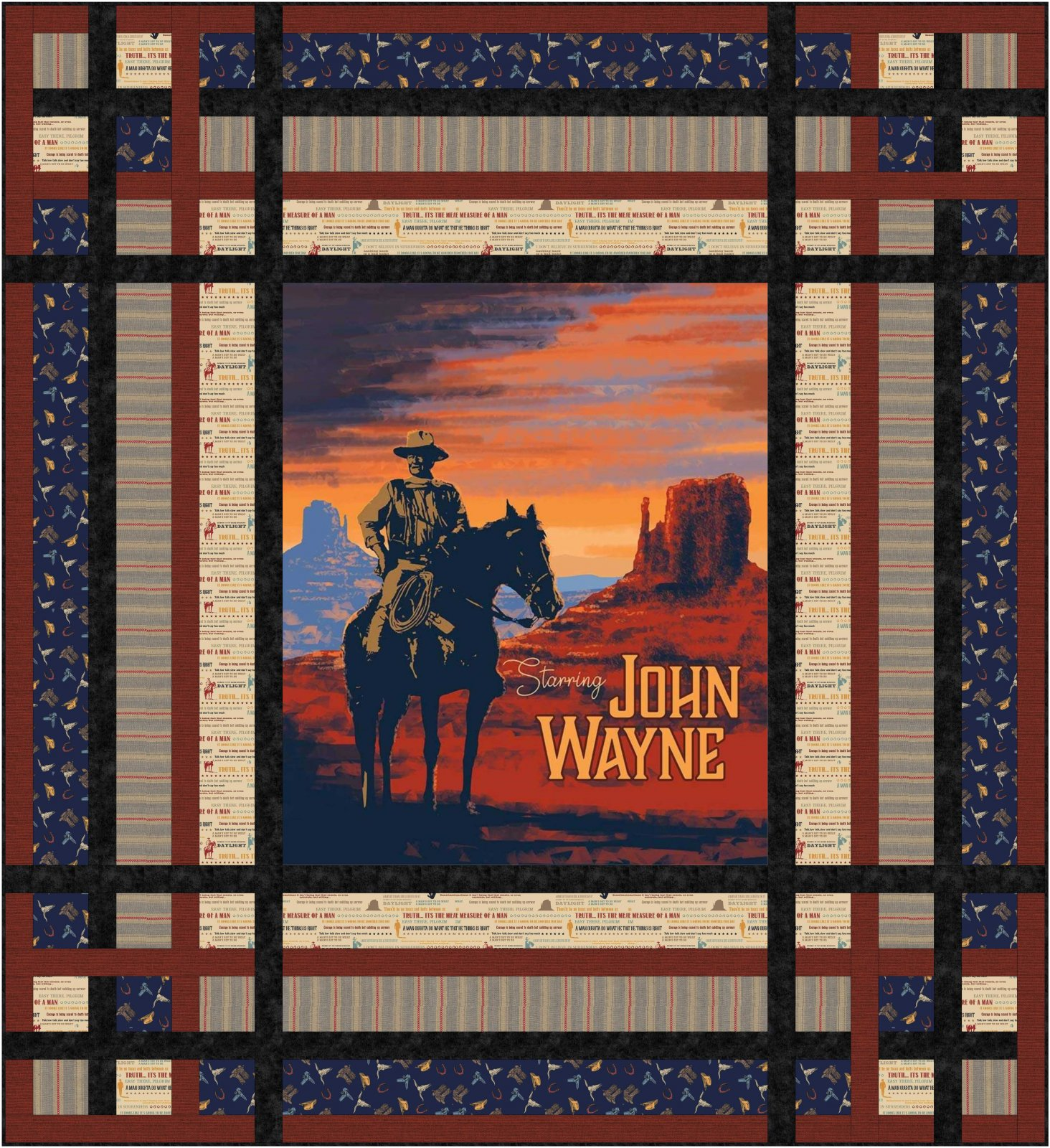 John Wayne Plaid and a Panel Throw Kit 74 x 82