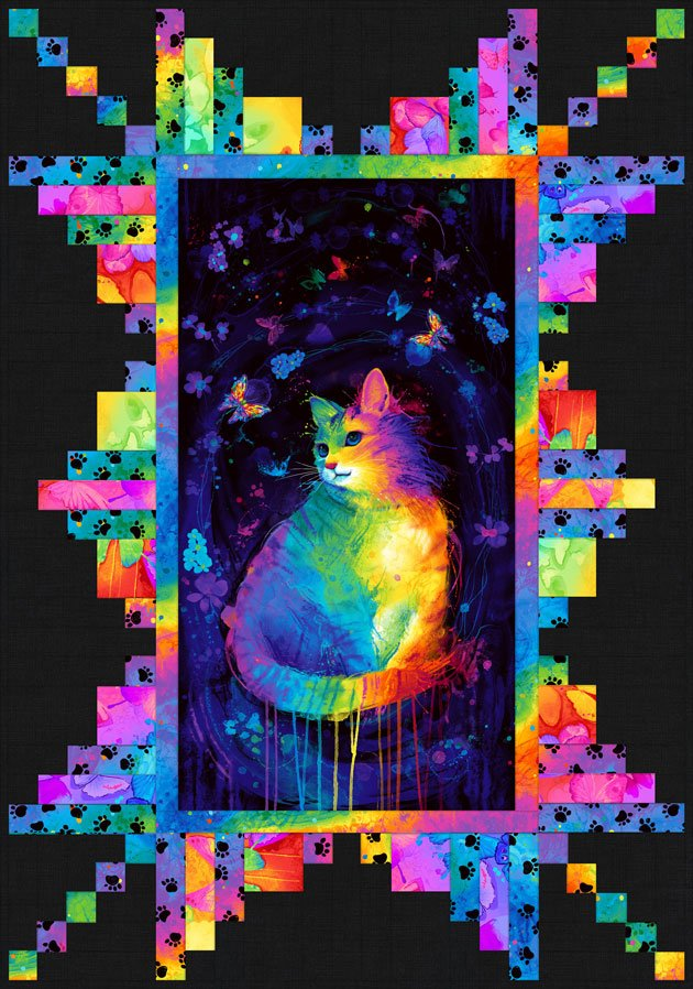 Panel Perfection Meow-Za! Throw Kit 46 x 66 includes pattern